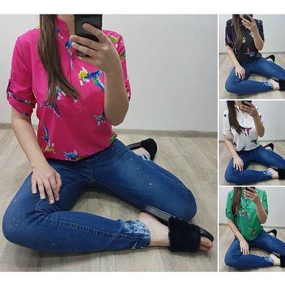 Dámská košile s barevným vzorem Birdy