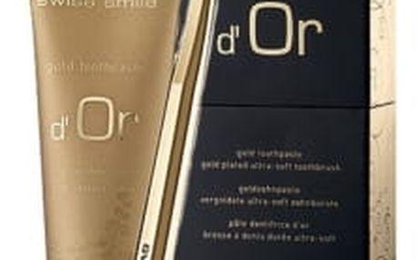 swiss smile d´Or Gold dárková kazeta unisex zlatý zubní gel d´O Gold 75 ml + zubní kartáček Ultra Soft Gold Plated 1ks