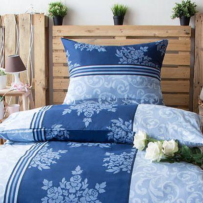 XPOSE ® Bavlněné povlečení na dvě lůžka KATEŘINA - modrá 140x200, 70x90