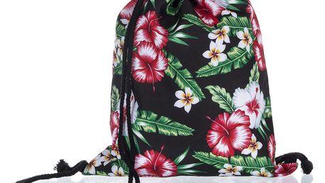 Fashion Icon Sportovní vak Tropical Flowers černý