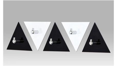 Set (5ks) nástěnných věšáků, černý a bílý akrylát / chrom GC3511-5 Autronic