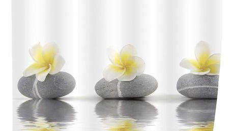 Sprchový závěs, textilní, Stones and Flower, 180x200 cm, WENKO