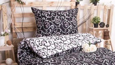 XPOSE ® Bavlněné povlečení na dvě lůžka ELIZABETH DUO - černá 140x200, 70x90