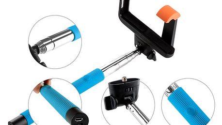 Selfie tyč GoGEN 2 teleskopická, bluetooth modrá (GOGBTSELFIE2BL)