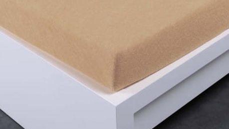 XPOSE ® Froté prostěradlo Exclusive dvoulůžko - béžová 200x200 cm