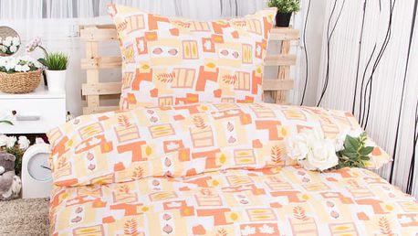 Hermann Cotton Krepové povlečení ZDISLAVA - oranžová 140x200 ,70x90