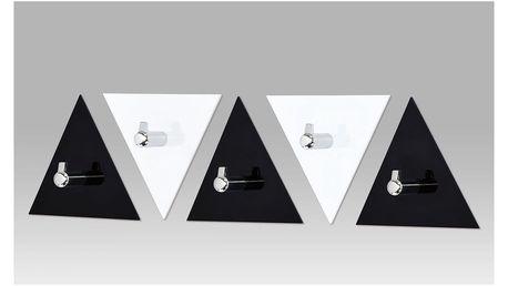 Set (5ks) nástěnných věšáků GC3511-5 černý a bílý akrylát / chrom Autronic