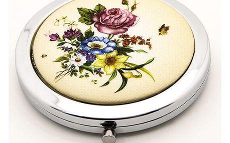 Kapesní kosmetické zrcátko Retro Flowers modré