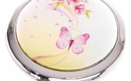 Kapesní kosmetické zrcátko Motýl růžové