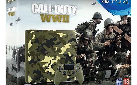 Herní konzole Sony PlayStation 4 SLIM 1TB + Call of Duty WW II + That's You - kamufláž (PS719943167)