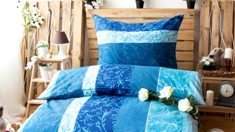 XPOSE ® Bavlněné povlečení na dvě lůžka EVA - modrá 140x200, 70x90