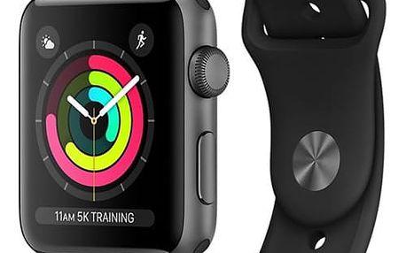 Chytré hodinky Apple Watch Series 3 GPS 38mm pouzdro z vesmírně šedého hliníku - černý sportovní řemínek (MQKV2CN/A)