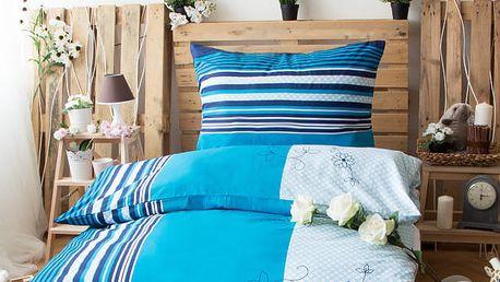 XPOSE ® Bavlněné povlečení na dvě lůžka LEONTÝNA - modrá 70X90, 140X200