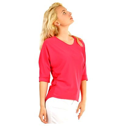 Dámské oversized triko s 3/4 rukávem růžová