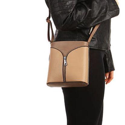 Malá koženková kabelka s ozdobným zipem béžová