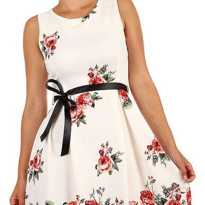 Bílé áčkové šaty s potiskem růží bílá