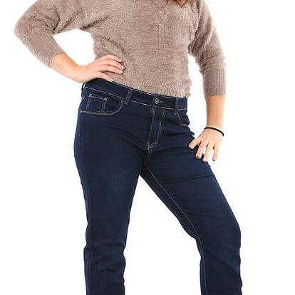 Dámské rovné tmavé džíny - i pro plnoštíhlé modrá