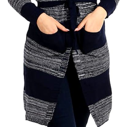 Dlouhý pruhovaný svetr s páskem tmavě modrá