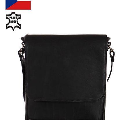 Univerzální kožená taška - Česká výroba černá