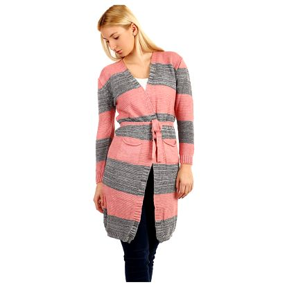 Dlouhý pruhovaný svetr s páskem růžová