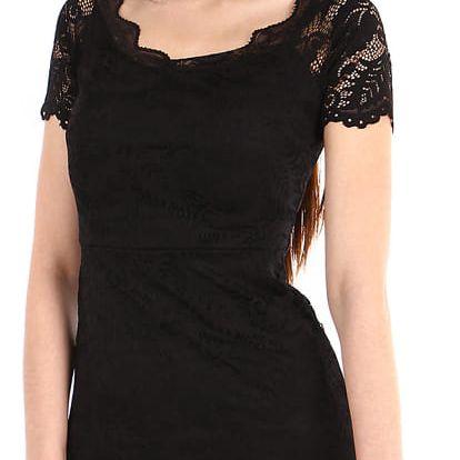 Dámské krajkované šaty s krátkým rukávem černá