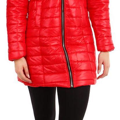Zimní prošívaný dlouhý kabát s kožíškem khaki