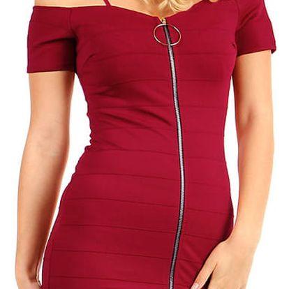 Krátké přiléhavé šaty se zipem vínová