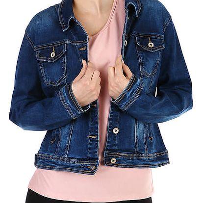 Džínová dámská bunda- pro plnoštíhlé modrá