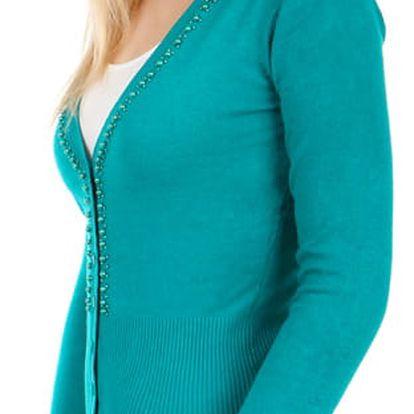 Dámský propínací svetr s korálky zelená
