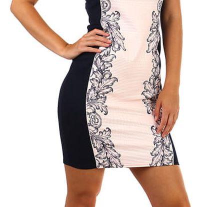 Společenské šaty s potiskem a krajkou- i pro plnoštíhlé světle růžová