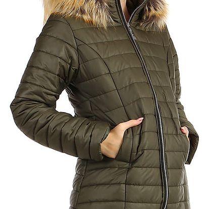 Dlouhá dámská bunda s kožíškem khaki