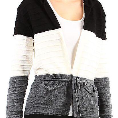 Dlouhý dámský cardigan s kapucí černá