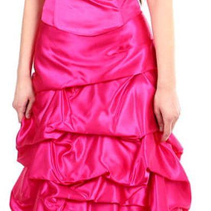 Dámské růžové šaty bez ramínek růžová