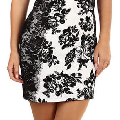 Černo-bílé šaty s krajkovými rukávy černá