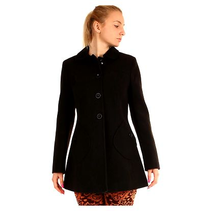 Áčkový dámský vlněný kabát s kapsami černá