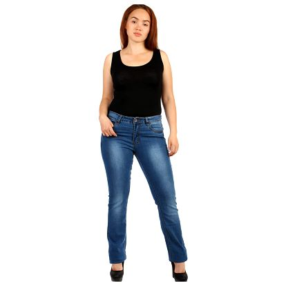 Rovné dámské džíny - i pro plnoštíhlé modrá