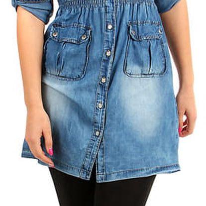 Džínové šaty s šisováním světle modrá