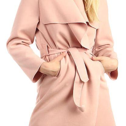 Dlouhý dámský kabát - kardigan s páskem tmavě růžová