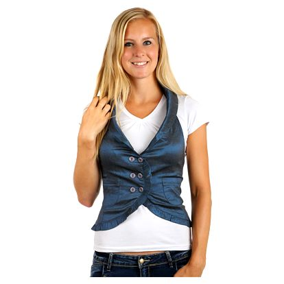 Dámská stylová vesta-i pro plnoštíhlé modrá