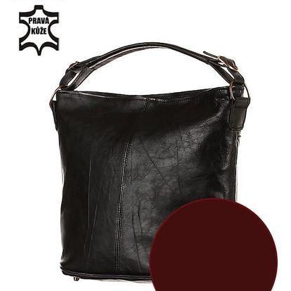 Prostorná kožená kabelka - Česká výroba vínová