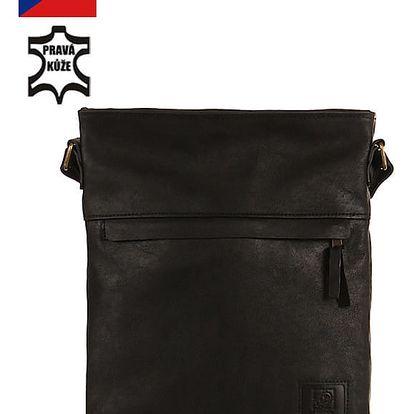 Velká crossbody kožená kabelka - Česká výroba černá
