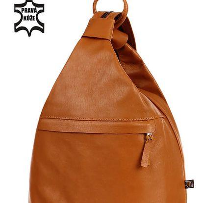 Kožený batoh/kabelka 3v1 - Česká výroba zrzavá