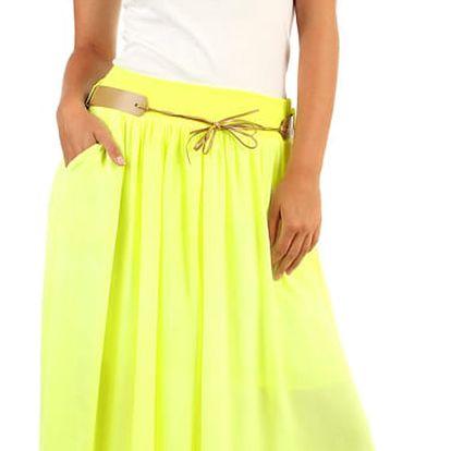 Dámská maxi sukně v neonových barvách neon žlutá