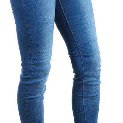 Dámské džíny s potiskem - nízký sed světle modrá