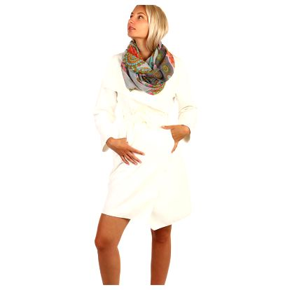 Dlouhý dámský kabát - kardigan s páskem bílá