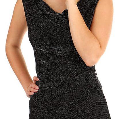 Třpytivé šaty s volným výstřihem černá