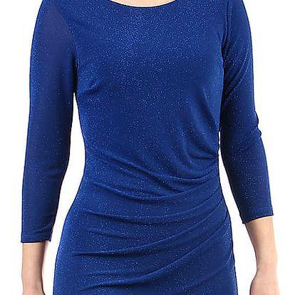 Třpytivé šaty s 3/4 rukávem modrá