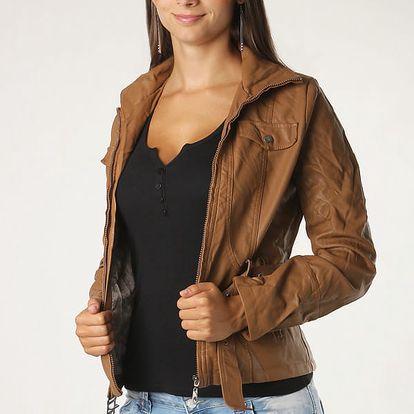 Koženková dámská bunda béžová
