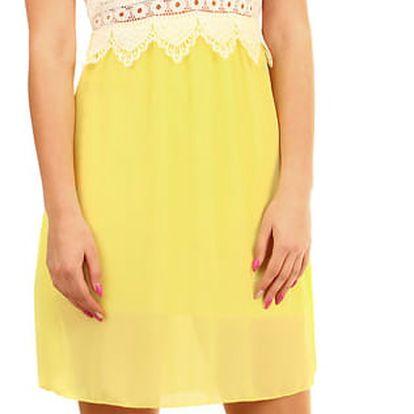 Krátké šaty s krajkovými zády žlutá