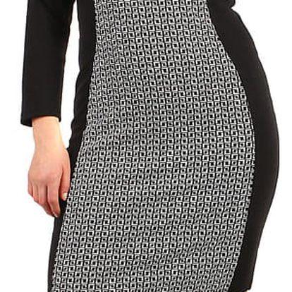 Vzorované bavlněné šaty - pro plnoštíhlé černá